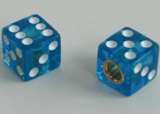 "2 Real Gem Dice ""Clear Blue"" Custom Tire Valve Stem Caps for Motorcycle Car Rims"