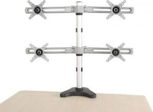 """Quad 4 LCD Monitor Desk Mount 10"""" to 24"""" Stand Height Adjustable w Tilt New"""