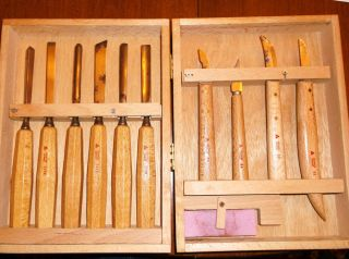 11 Woodcarving Chisel Knife Tools Solingen Germany Used