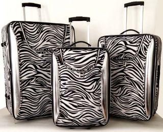 3pc Luggage Set Travel Bag Rolling Wheel Upright Case Carryon White Silver Zebra