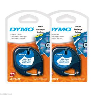 "2pk Dymo 91331 Letra Tag 1 2"" White Plastic Labels LetraTag QX50 Labelmakers"