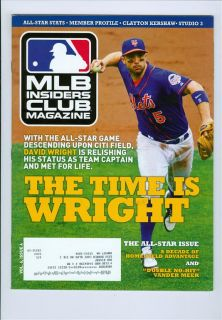 2013 MLB Insiders Club Magazine David Wright New York Mets