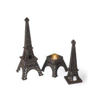 "Eiffel Tower Paris Tea Light Candle Holder Wrought Iron 15"" High"