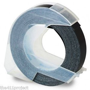 "3 8"" 9mm Black Embossing Tape for Dymo Omega Xpress Pro Caption Label Makers"