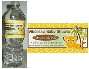 20 Lion King Baby Simba Baby Shower Water Bottle Labels