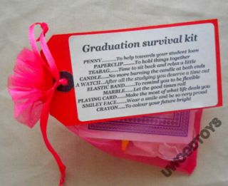 Novelty Gift Mini Survival Kit Graduation in Pink or Blue