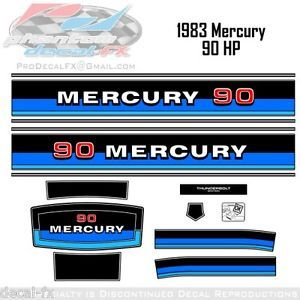 1983 Mercury Marine 90 HP Outboard Reproduction 14 Piece Vinyl Decals