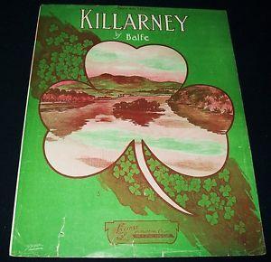 """""""Killarney"""" by Balfe Vintage Sheet Music Large Format"""