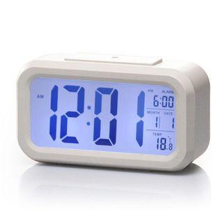 White LED Digital Alarm Clock Light Control Backlight Time Calendar Thermometer