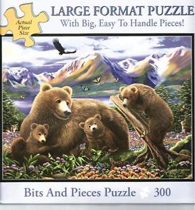 """Bits Pieces """"Playing with Mother Bear"""" 300 Large Format Puzzle So Beautiful"""