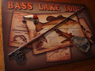 Bass Lake Lodge Sign Vintage Fishing Net Lure Primitive Log Cabin Home Decor New