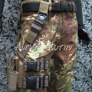 CQC Tactical Beretta 92 96 RH Drop Leg Holster with Magazine Light Case Brown