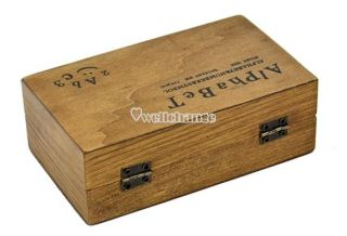 70pcs Rubber Stamps Set Vintage Wooden Box Case Alphabet Letters Number Craft W3