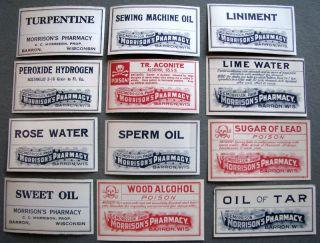 12 dif Old Barron Wis Wi Poison Medicine Bottle Labels Morrison's Pharmacy
