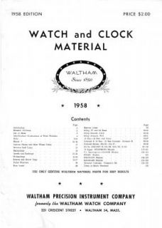 Waltham 1958 Watch Clock Material Catalog RARE A 11 WWII Items PDF CD