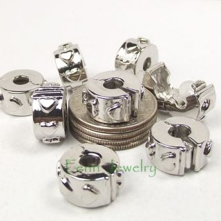 2 Silver Raised Heart Lock Stop Beads Clip on Stopper Fit European Bracelet S531
