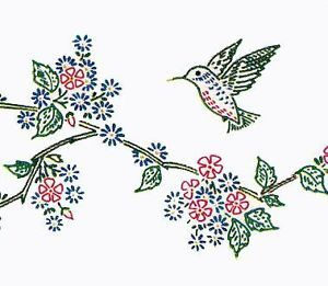 Hand Embroidery Pattern Vogart 292 Humming Bird Flowers for Cases 1940s