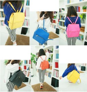 Womens Girls Cute Spring Candy Color Square Backpack School Bag Book Bag