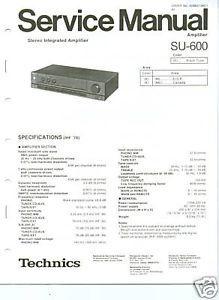 Original Technics Su 600 Amplifier Service Manual