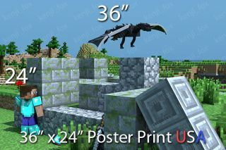 Minecraft PC Xbox Huge Poster Print 36x24 Steve Diamond Enderdragon USA New