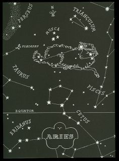 1948 Astronomical Map Star Map Zodiac Sign Aries