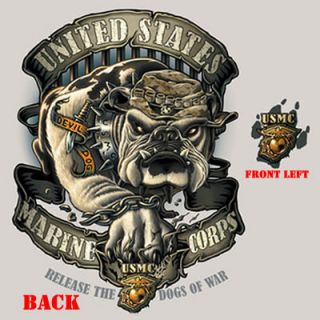 Marine Corps Tan USMC Bulldog 2 Sided Devil Dog T Shirt