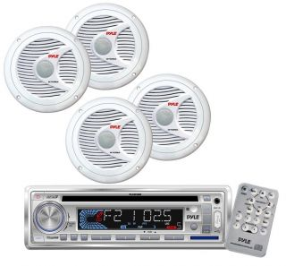 New Pyle Marine CD  USB SD Stereo Player Receiver 4 x 150W 6 5'' Speakers