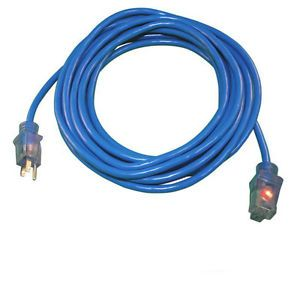 25ft Blue Heavy Duty Electric Extension Power Cord 12 Gauge Cable Indoor Outdoor