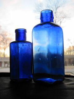2 Antique Late 1800's Cobalt Blue Medicine Bottles