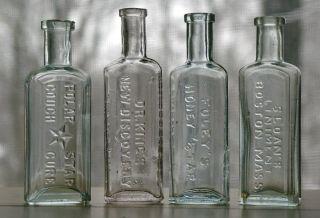 Lot of 4 Old Antique 1880's 1890's Embossed Mini Sample Size Medicine Bottles