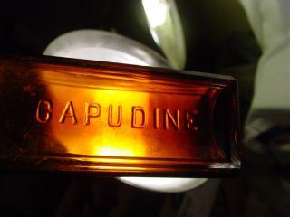 Old Medicine Bottle Capudine Old Amber Cork Top Medicine Advertised for Headache