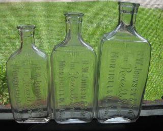 Lot Collection of 3 B w Johnson Rexall Medicine Bottles Monticello Florida FLA