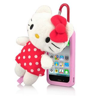 Cute Silicone Case with Decorative Hello Kitty Doll Toy for iPhone 4 and 4S