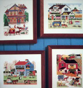 Charles Wysocki 4 Seasons Cross Stitch Pattern Village Scenes Horse Carts