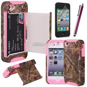 Hybrid Real Tree Camo Credit Card Hard Shell Stand Case for iPhone 4 4S 4G61E