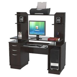 Inval Credenza Computer Workstation with Hutch