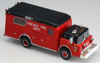 Athearn 91808 HO Scale Ford C Fire Rescue Truck Chicago Fire Dept Squad 1