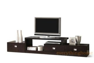 Brown Asymmetrical Modern Plasma LCD LED HD TV Stand Media Credenza Drawers
