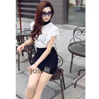 Women Lady Sexy Mini Cute Pleated Tight Short Silm Skirt Fitted Hip Cotton Blend