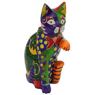 Multicolored Clay Handshake Cat Statue Indonesia