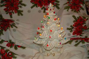 White Ceramic Lighted Atlantic Mold Christmas Tree Multicolored Bulbs Table Vtg