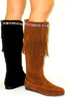 Cherokee Indian Faux Suede Moccasin Tall Fringe Tassel Flat Boot Knee High