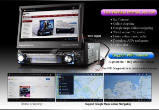 """ES8300USA 7"""" 1 DIN HD Android 4 0 4 Car DVD Player GPS WiFi 3G iPod TV Pip 2160P"""