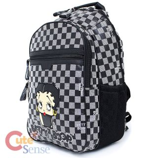 Betty Boop Laptop Bag School Large Backpack Leather Black Checkered