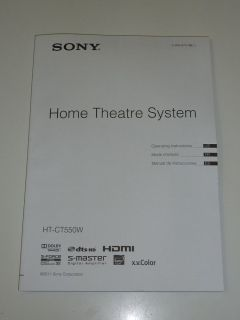 Sony Operating Instructions Manual for HT CT550W Home Theatre System