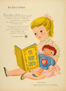 1956 Ad Dolly Phone Bell Telephone System Bil Baird Original Advertising