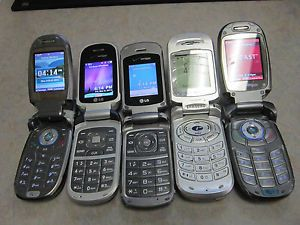 Lot of 5 Verizon Flip Phones Working LG Samsung