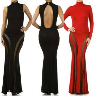 New s M L Maxi Dress Womens Black Red Solid Mesh See thru Long Sleeve Keyhole