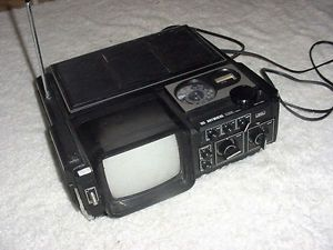 Vintage  TV Set Am FM Radio Portable  Television Works Good RARE Find