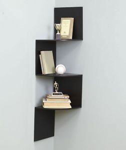Black Zig Zag Corner Wooden Wall Hanging Shelf Display Bathroom Shelves